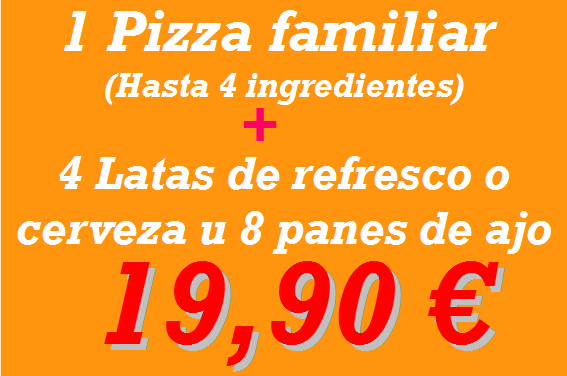 Pizzeria en Reus: pizza familiar + 4 latas