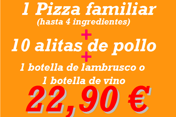 Pizzeria en Reus: pizza familiar + 10 alas
