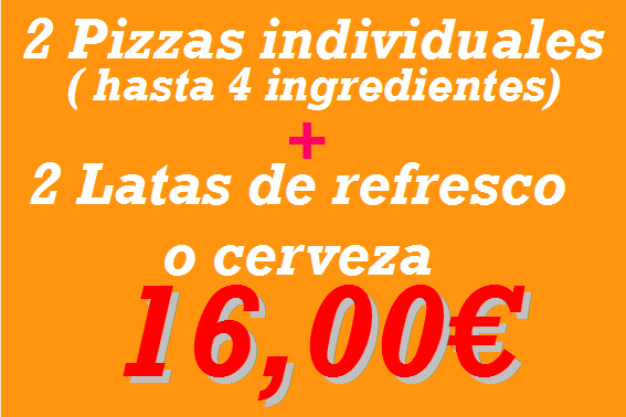 Pizzeria en Reus: 2 individuales + refresco