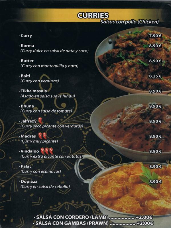 Carta restaurante Hindú en Vilaseca 9