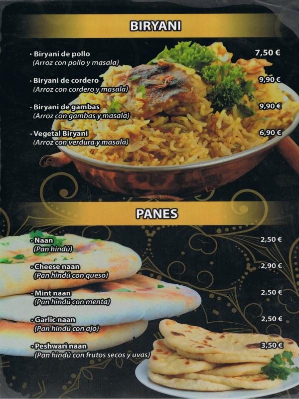 Carta restaurante Hindú en Vilaseca 10