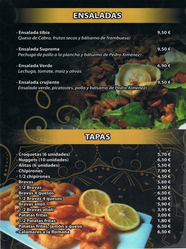 Carta restaurante Hindú en Vilaseca 1