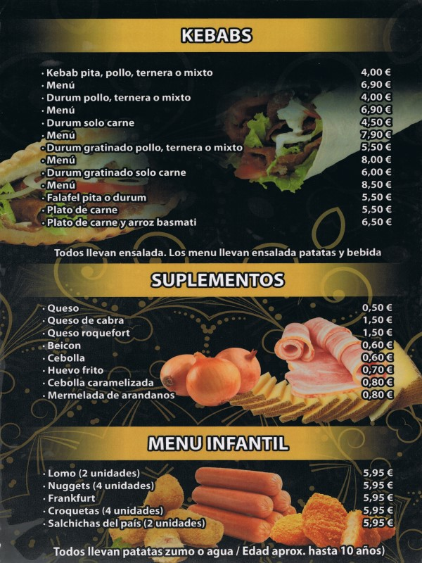 Carta restaurante Hindú en Vilaseca 4