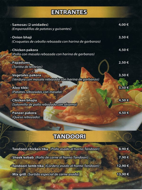 Carta restaurante Hindú en Vilaseca 7